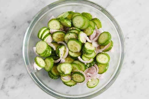 Prepare & marinate the cucumbers: