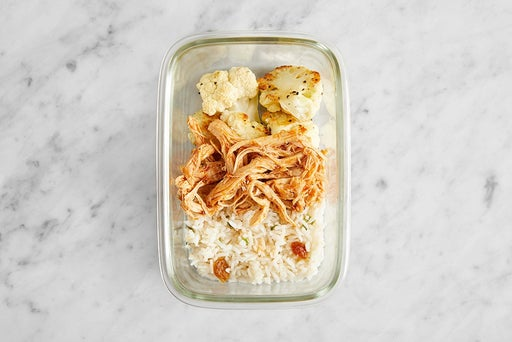Assemble & Store the Indian-Style Chicken Thighs & Coconut Rice: