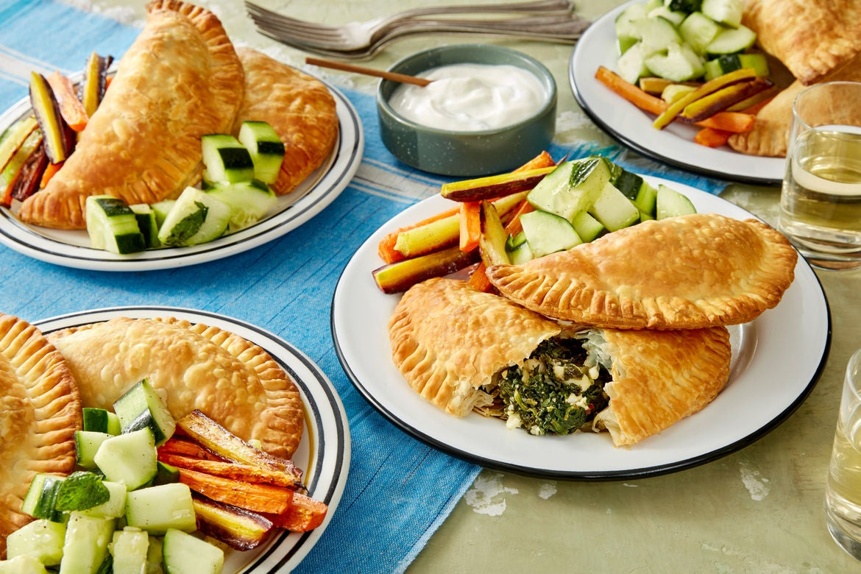 Blue apron yogurt sauce - Greek Spinach Feta Cheese Pies With Yogurt Sauce Roasted Carrots