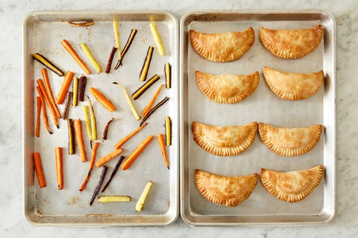 Bake the pies & roast the carrots: