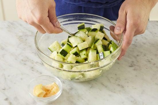 Make the cucumber salad: