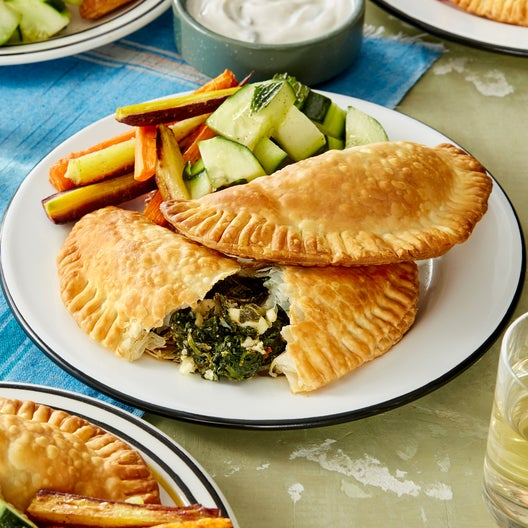 Greek Spinach & Feta Cheese Pies with Yogurt Sauce & Roasted Carrots
