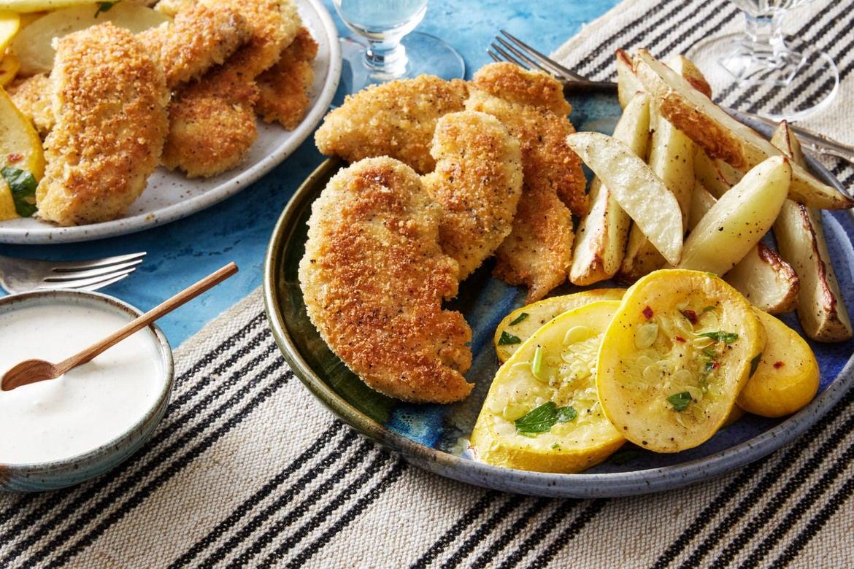 Blue apron menu last week - Crispy Chicken Tenders With Roasted Potatoes Summer Squash