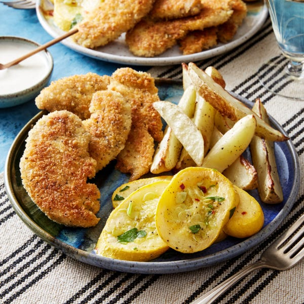 Crispy Chicken Tenders with Roasted Potatoes & Summer Squash