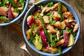 Smoked Trout & Asparagus Salad with Fingerling Potatoes & Garlic Croutons