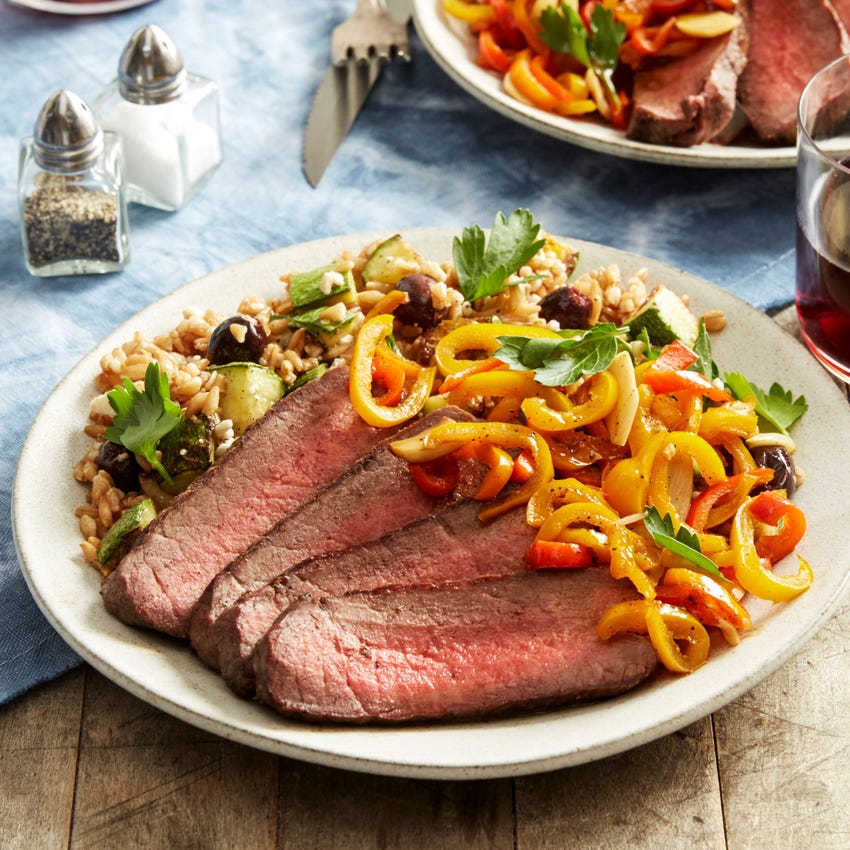 Roasted Beef & Farro Salad with Sweet Peppers, Summer Squash, & Olives