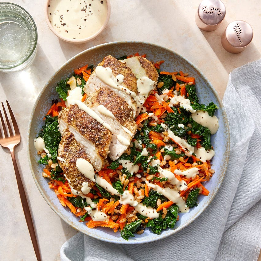 Za'atar Chicken & Farro Salad with Creamy Dijon Sauce