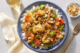 Sesame-Cashew Chicken with Carrots & Shishito Peppers