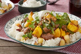 Masala-Spiced Beef with Plum Rice & Lime Yogurt