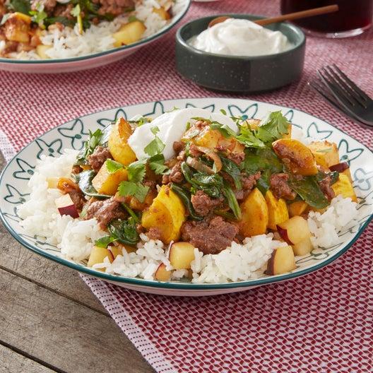 Masala-Spiced Beef with Plum Rice & Lime Yogurt