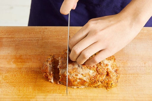 Slice the meatloaf & serve your dish: