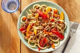 One-Pot Beef & Udon Noodles with Sweet Peppers & Carrots