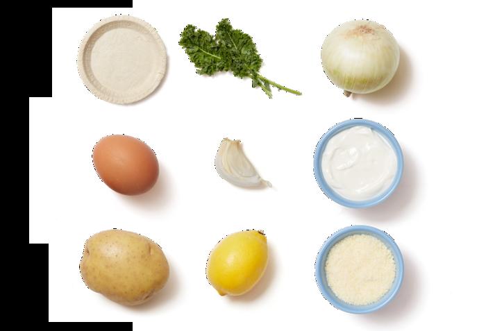Vidalia Onion & Kale Tarts with Lemon-Garlic Roasted Potatoes