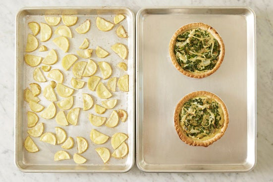 Bake the tarts & roast the potatoes:
