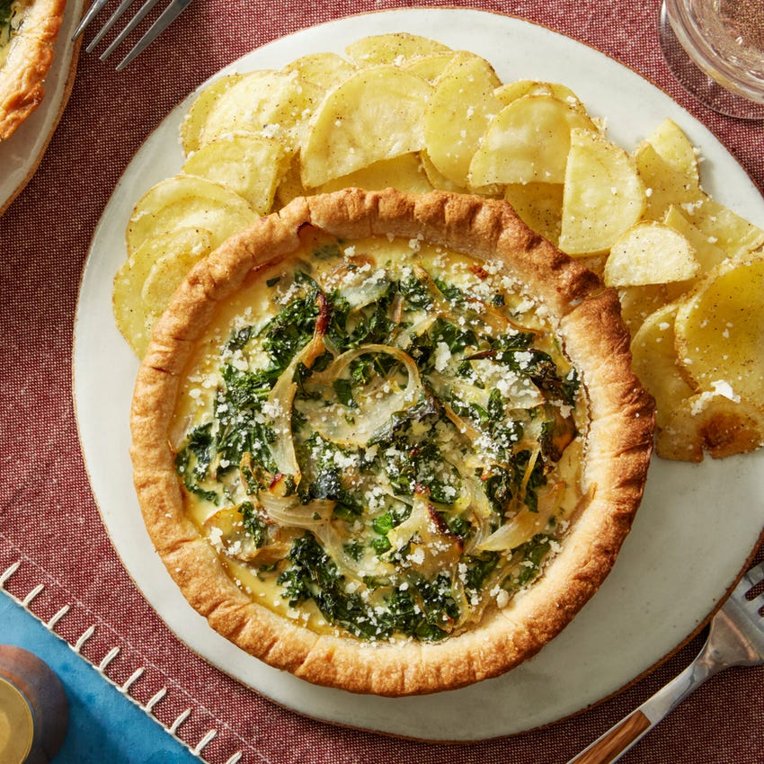 Vidalia Onion & Kale Tarts with Lemon-Garlic Roasted Potatoes