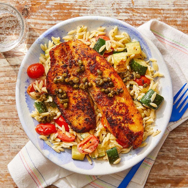 Piccata-Style Tilapia with Orzo, Zucchini & Tomatoes