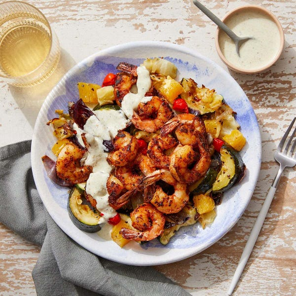 Mexican Shrimp & Tomatillo Sour Cream with Roasted Vegetables & Fresh Orange