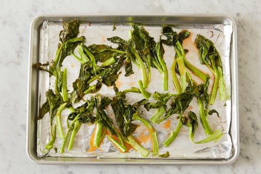 Roast & dress the gai lan: