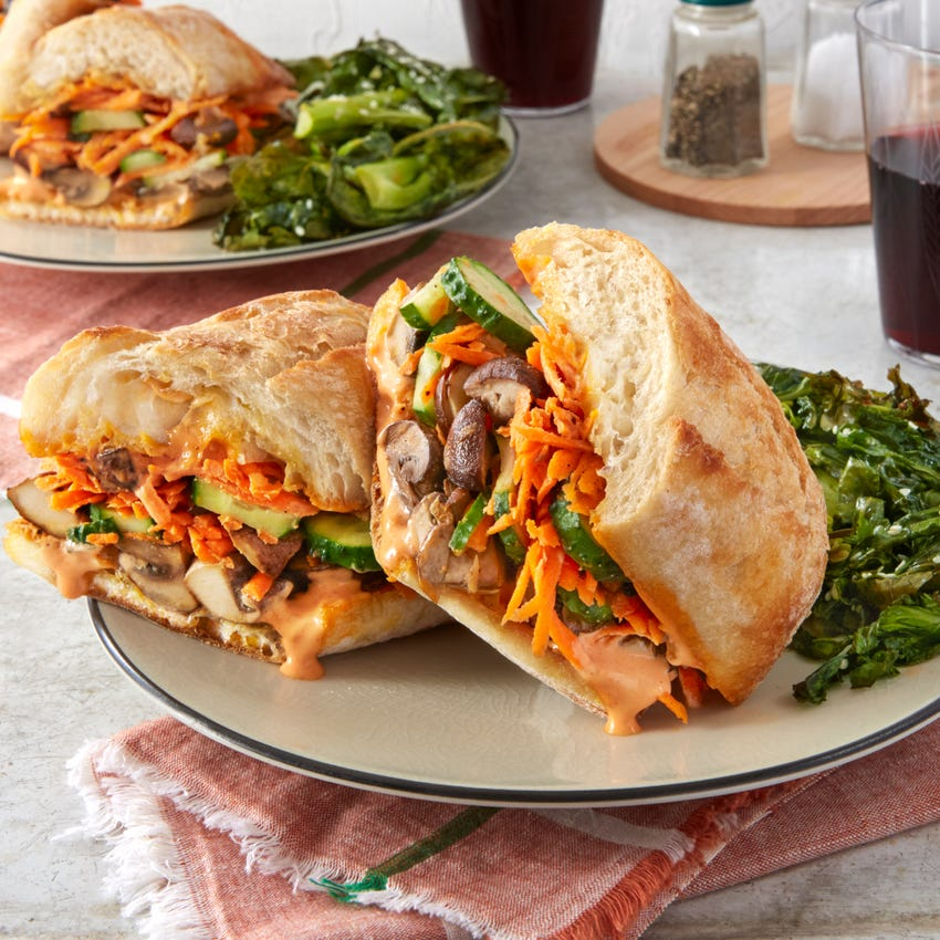 Vietnamese-Style Vegetable Sandwiches with Sriracha Mayonnaise & Roasted Gai Lan