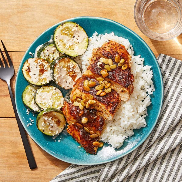 Mexican-Style Chicken & Zucchini with Orange, Pepita & Brown Butter Sauce