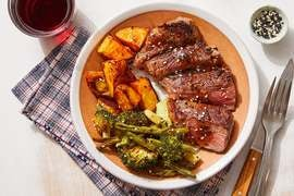 Steaks & Black Bean-Butter Sauce with Roasted Vegetables & Gochujang Potatoes
