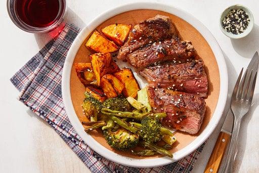 Steaks & Black Bean-Butter Sauce with Roasted Vegetables & Gochujang Potatoes