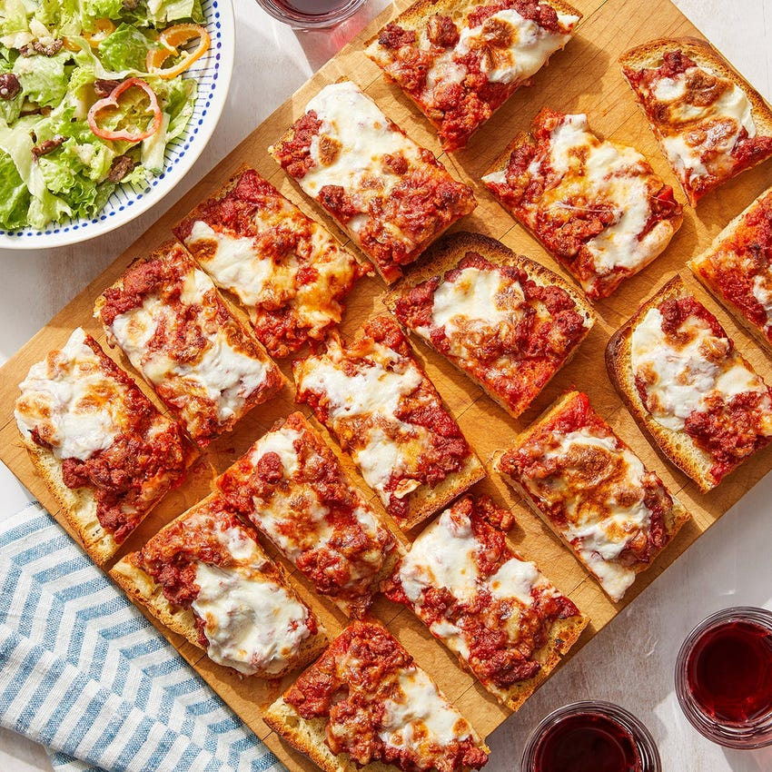 Hot Italian Sausage Focaccia Pizza with Creamy Oregano-Dressed Salad