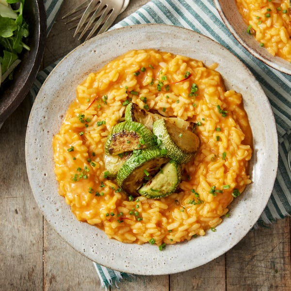 Tomato-Saffron Risotto with Sautéed Summer Squash & Baby Greens Salad