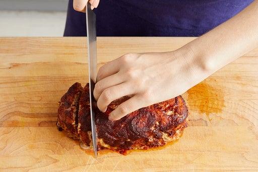 Slice the meatloaf & serve your dish: