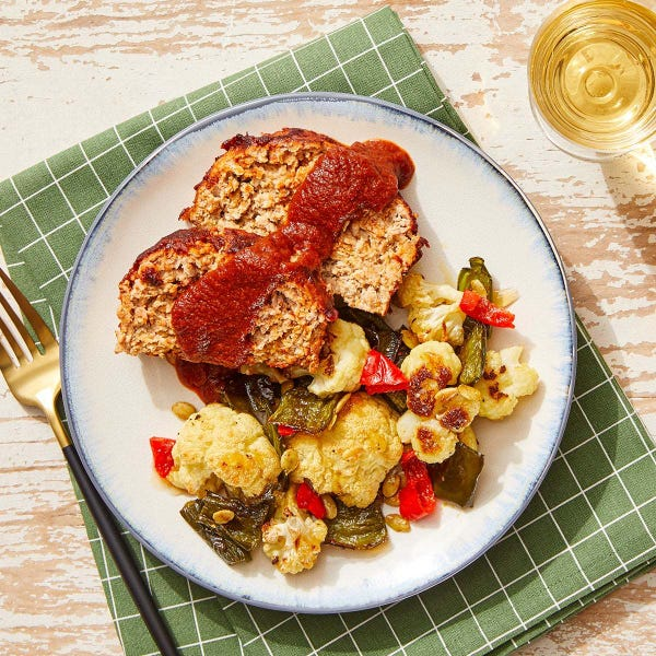 Guajillo & BBQ-Glazed Turkey Meatloaf with Roasted Cauliflower & Poblano Peppers