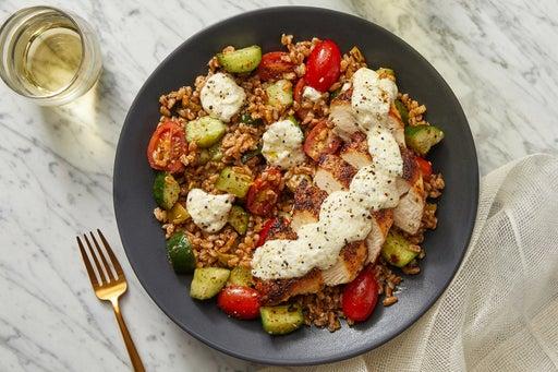 Za'atar-Spiced Chicken & Farro Salad with Lemon-Garlic Labneh