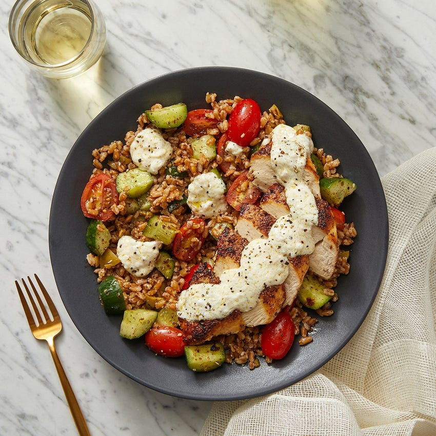 Za'atar-Spiced Chicken & Farro Salad with Lemon-Garlic Labneh