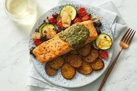 Pesto Salmon & Roasted Vegetables with Olives & Capers