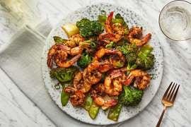 Togarashi-Ginger Shrimp with Stir-Fried Broccoli, Snow Peas & Bok Choy