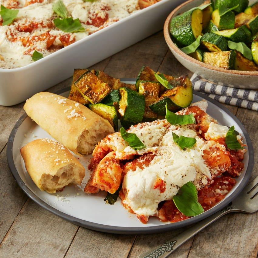 Chicken Parmesan with Summer Squash & Cheesy Garlic Breadsticks