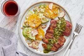 Mexican-Spiced Steaks & Cilantro Sauce with Radish, Orange & Chayote Squash Salad