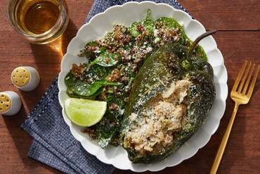 Jalapeño & White Bean-Stuffed Peppers with Cilantro & Spinach Quinoa