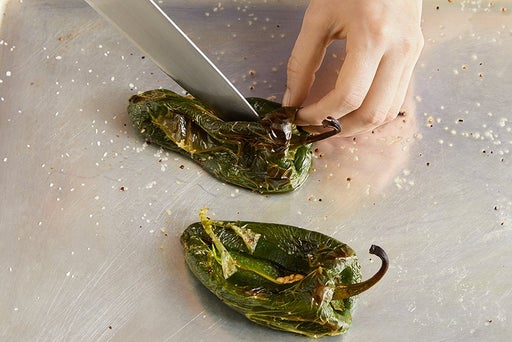 Start the poblano peppers: