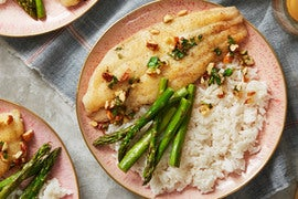 Catfish Almondine with Roasted Asparagus & Rice