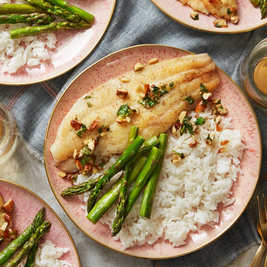Catfish Almondine with Roasted Asparagus & Rice