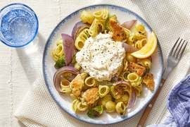 Pesto Chicken Pasta with Brussels Sprouts & Lemon Ricotta