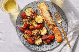 Deviled Salmon with Zucchini & Tomato-Shallot Pan Sauce