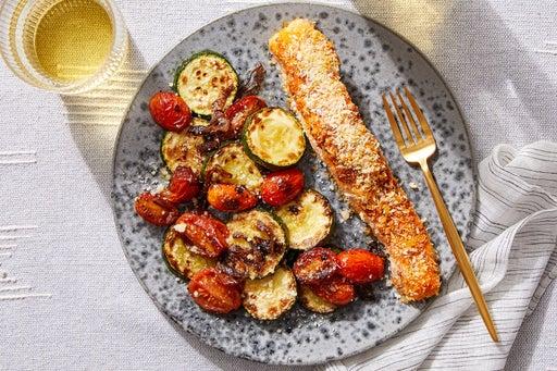Deviled Salmon with Zucchini & Tomato-Shallot Pan Sauce