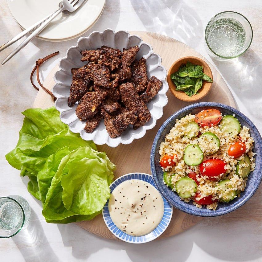 Za'atar Beef & Freekeh Lettuce Cups with Lemon-Tahini Sauce & Mint