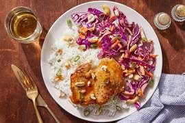 Hoisin & Honey-Glazed Chicken Thighs with Garlic Rice & Spicy Cabbage Slaw