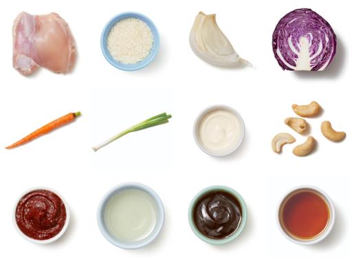 Hoisin & Honey-Glazed Chicken Thighs with Garlic Rice & Spicy Cabbage Slaw