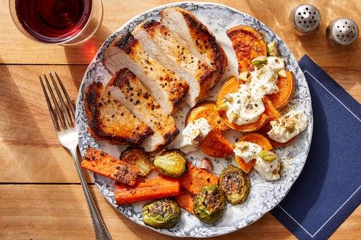 Harissa Pork Chops with Pistachio, Lemon & Feta-Dressed Sweet Potatoes