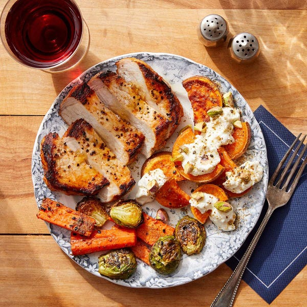 Harissa Pork Chops with Pistachio, Lemon & Feta-Dressed Sweet Potatoes
