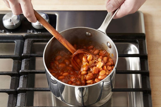 Stew the beans: