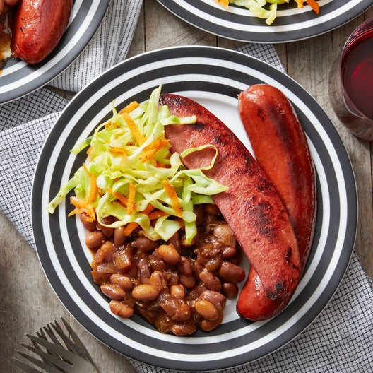 Seared Knockwurst with New England-Style Beans & Coleslaw